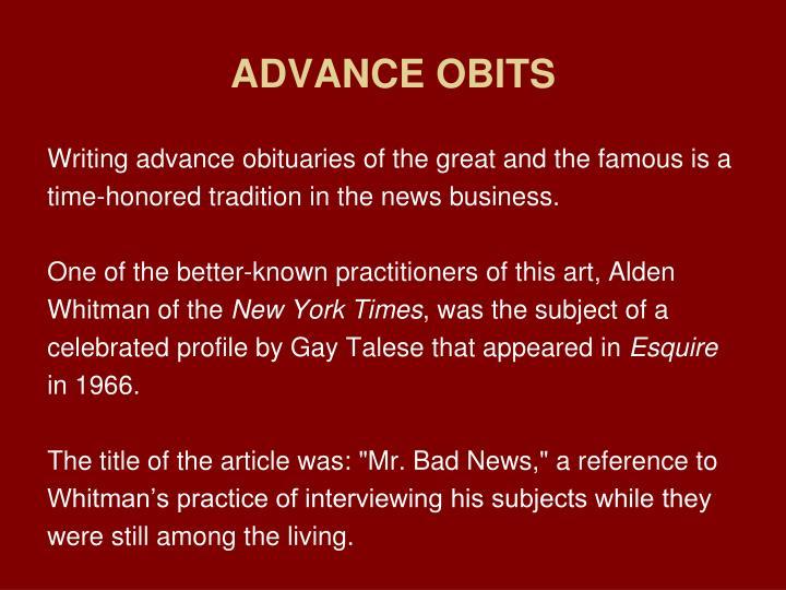 ADVANCE OBITS