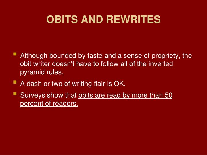 OBITS AND REWRITES