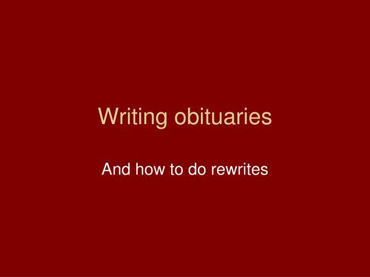 Writing obituaries