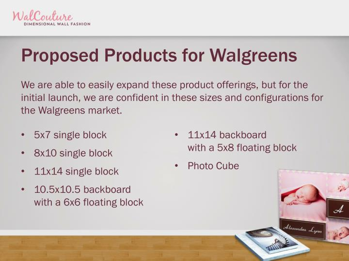 Proposed Products for Walgreens