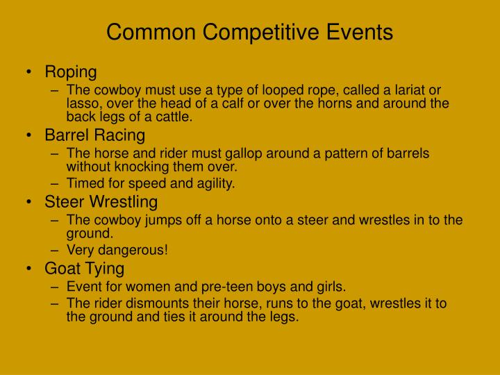 Common Competitive Events