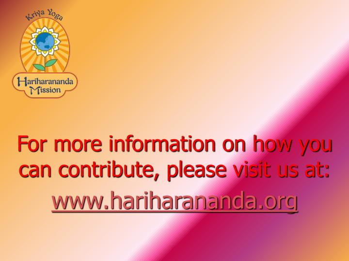 For more information on how you can contribute, please visit us at: