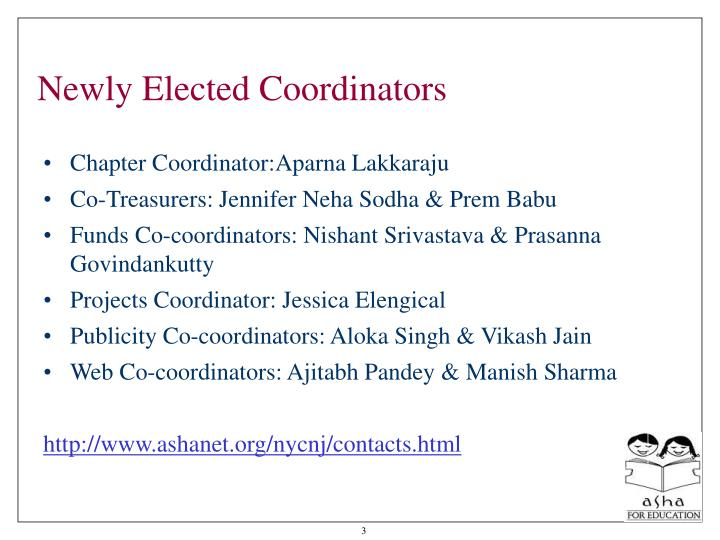 Newly elected coordinators