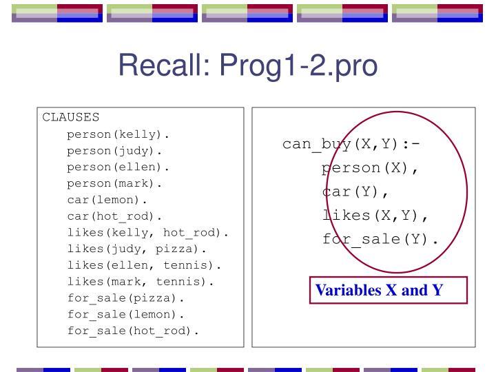 Recall prog1 2 pro