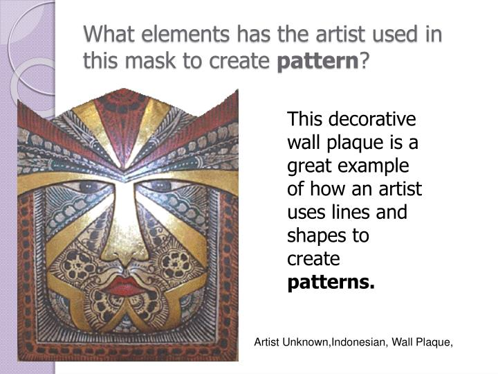 What elements has the artist used in this mask to create