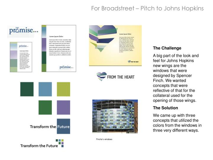 For Broadstreet – Pitch to Johns Hopkins