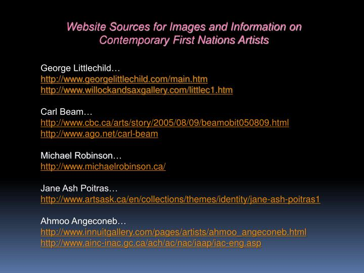 Website Sources for Images and Information on Contemporary First Nations Artists