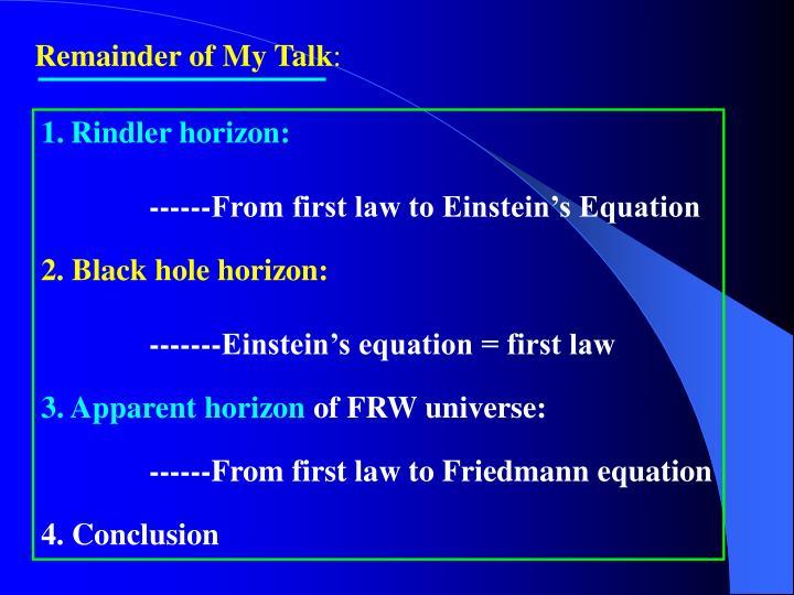 Remainder of My Talk