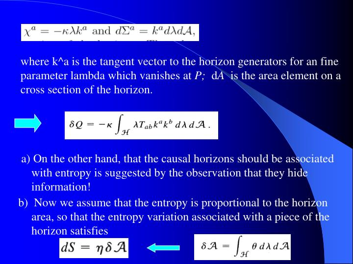 where k^a is the tangent vector to the horizon generators for an fine