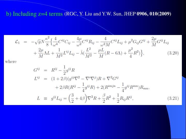 b) Including z=4 terms