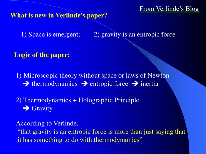 From Verlinde's Blog