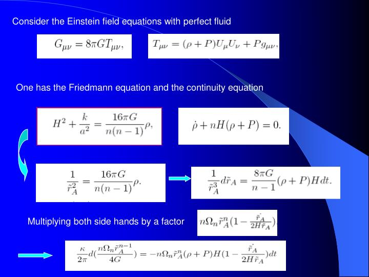 Consider the Einstein field equations with perfect fluid