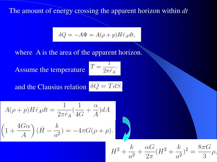 The amount of energy crossing the apparent horizon within