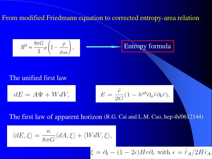 From modified Friedmann equation to corrected entropy-area relation