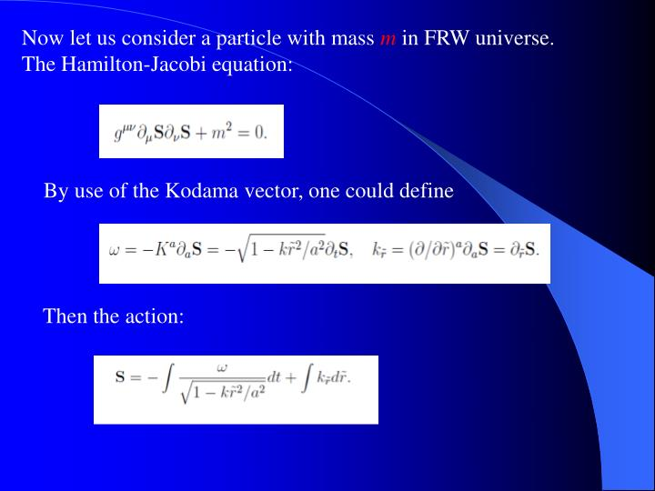 Now let us consider a particle with mass