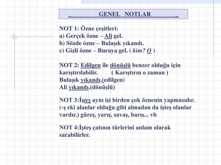 _                  GENEL   NOTLAR                _