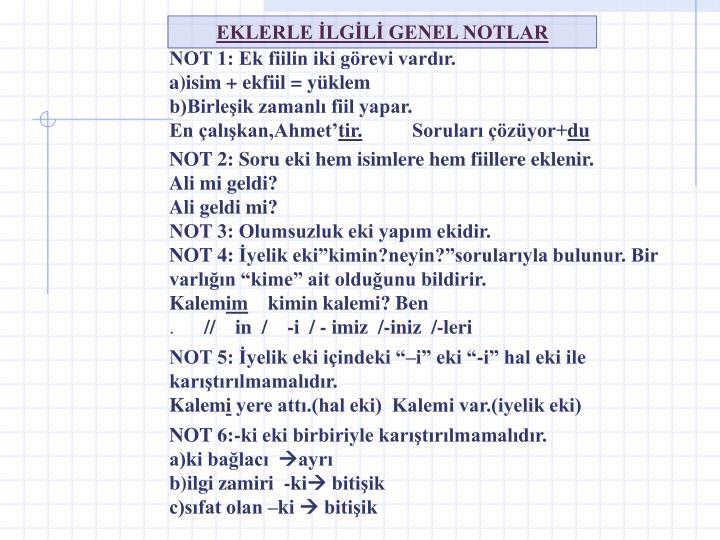 EKLERLE İLGİLİ GENEL NOTLAR