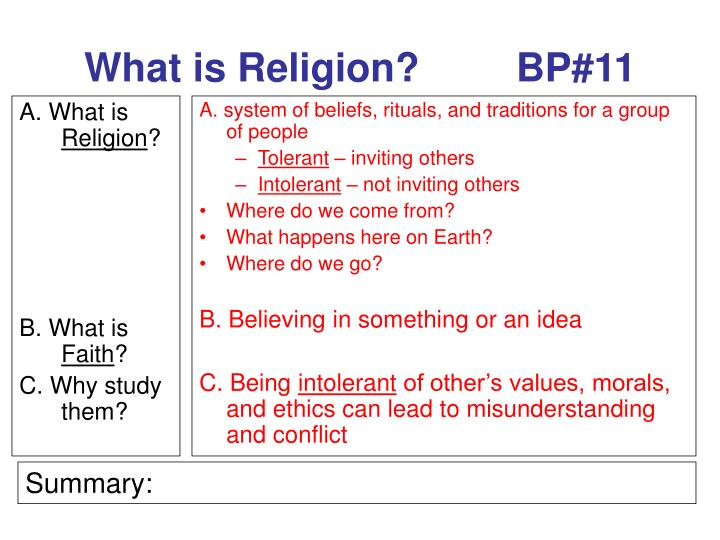 what is religion bp 11 n.