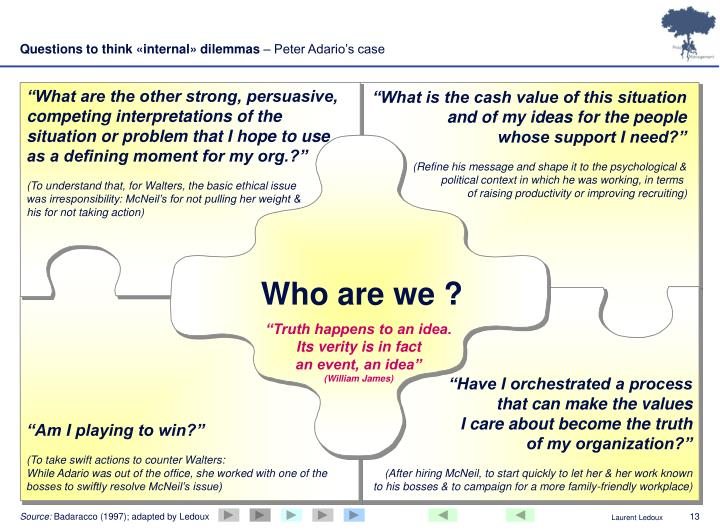 Questions to think «internal» dilemmas