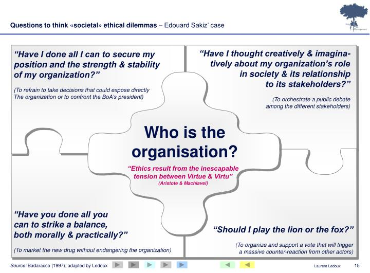 Questions to think «societal» ethical dilemmas