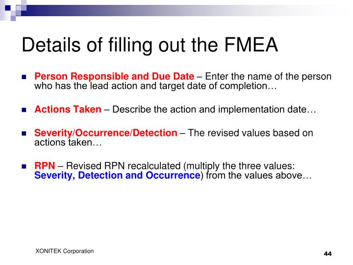 Details of filling out the FMEA