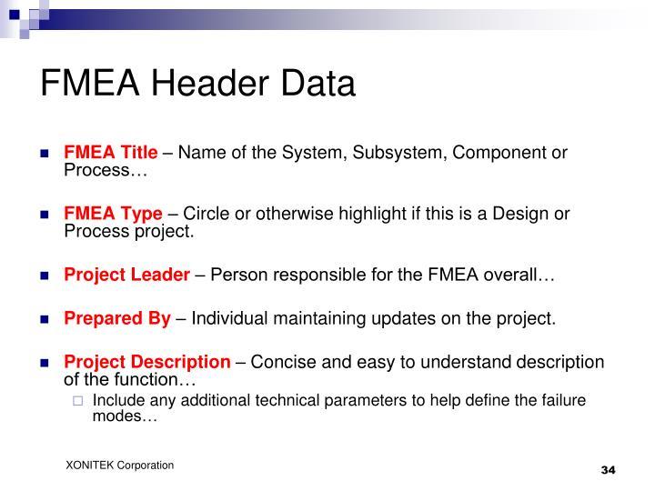 FMEA Header Data
