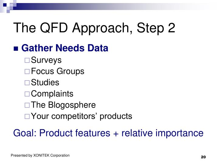 The QFD Approach, Step 2