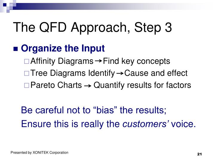 The QFD Approach, Step 3