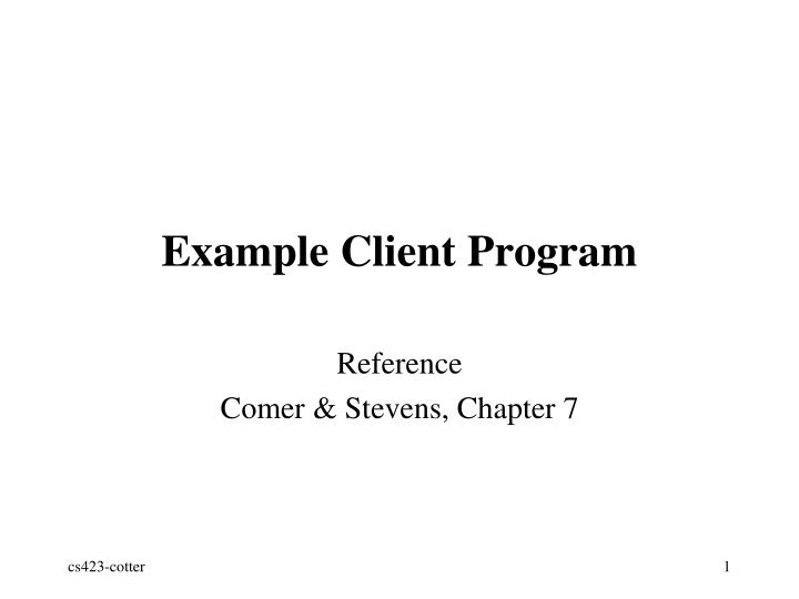 Example client program