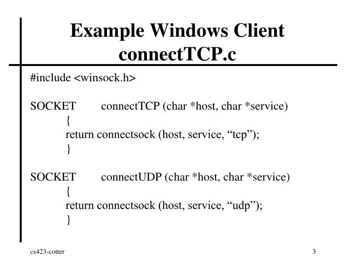 Example windows client connecttcp c