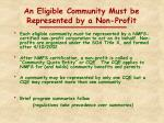 an eligible community must be represented by a non profit