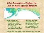 goa communities eligible for one or more special benefits