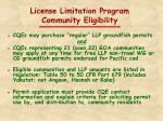 license limitation program community eligibility