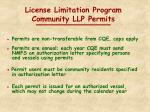 license limitation program community llp permits