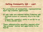 selling community qs cont