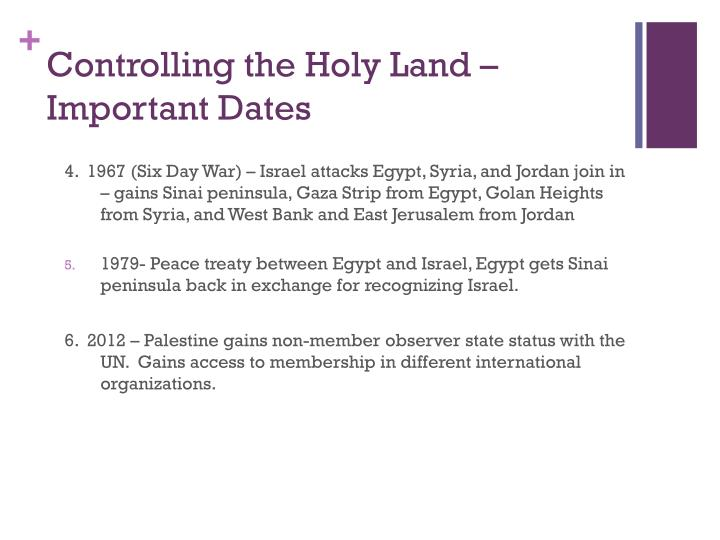 Controlling the Holy Land – Important Dates