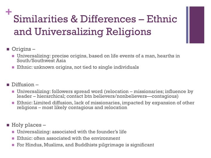 Similarities & Differences – Ethnic and Universalizing Religions