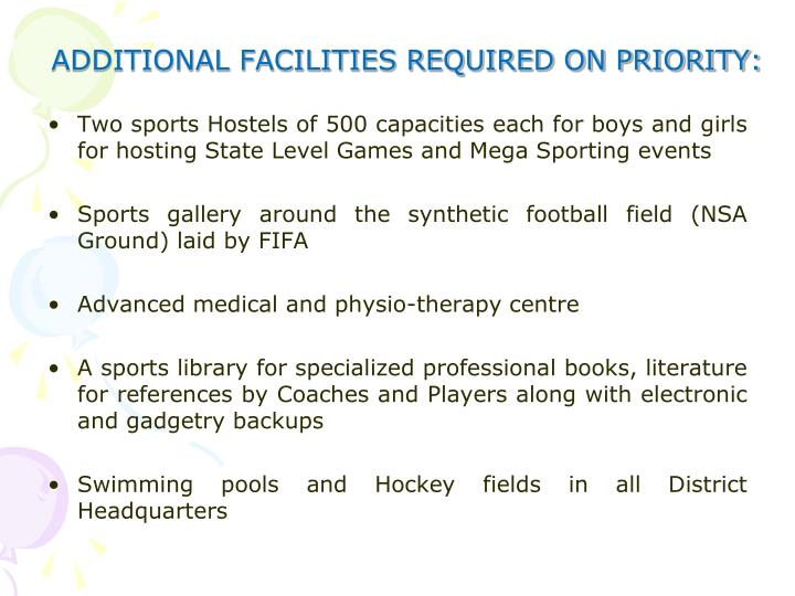 ADDITIONAL FACILITIES REQUIRED ON PRIORITY: