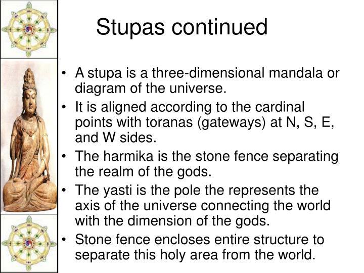A stupa is a three-dimensional mandala or diagram of the universe.