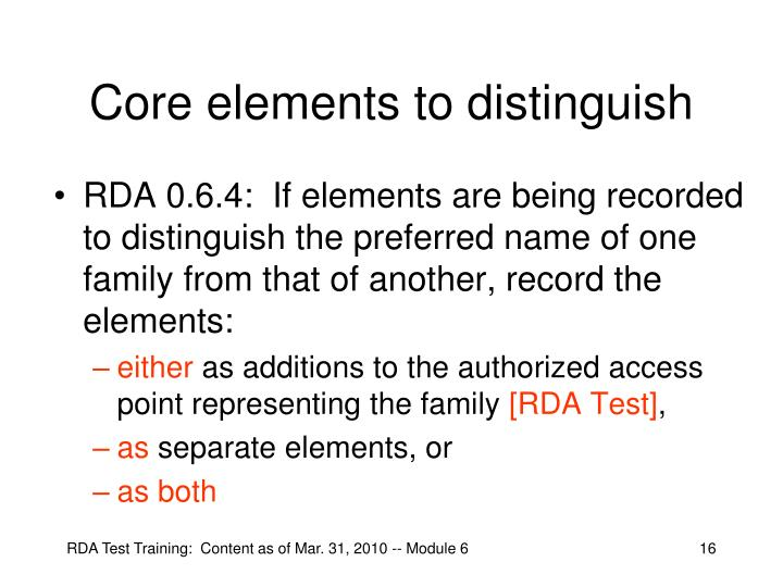 Core elements to distinguish