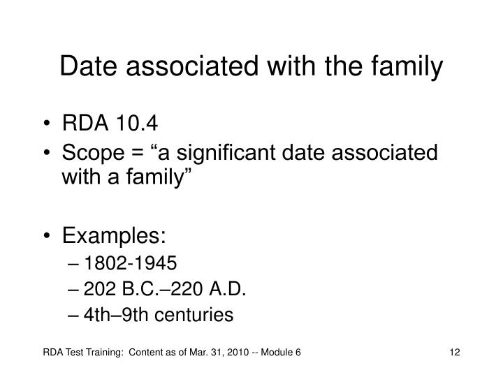 Date associated with the family
