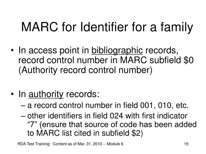 MARC for Identifier for a family