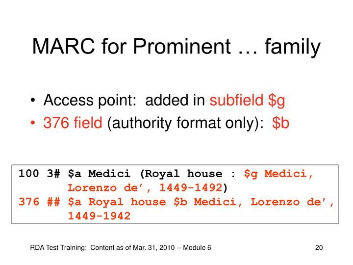 MARC for Prominent … family