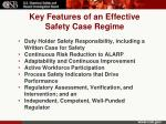key features of an effective safety case regime