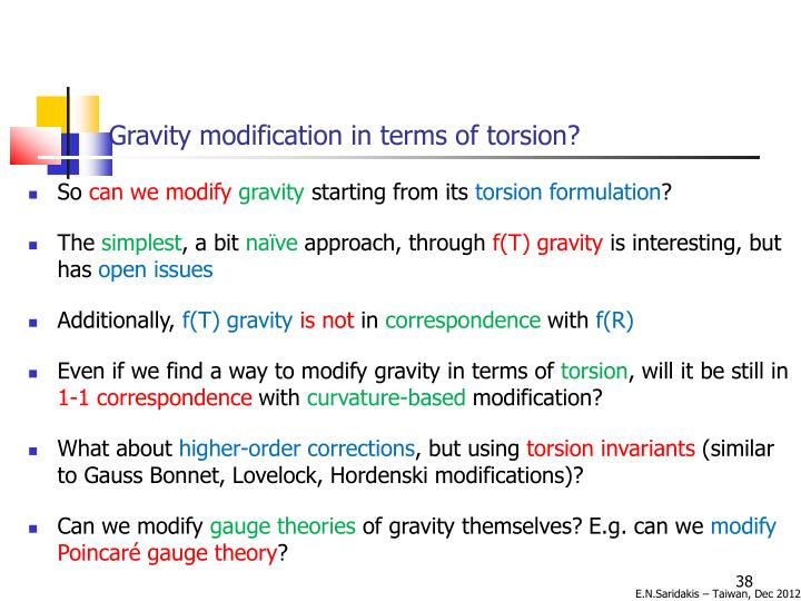 Gravity modification in terms of torsion?