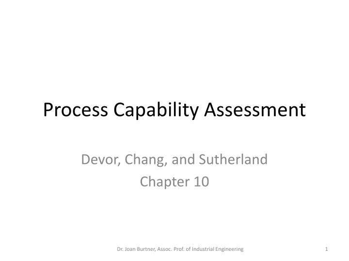 process capability assessment n.