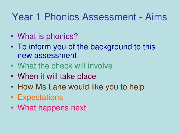 year 1 phonics assessment aims n.