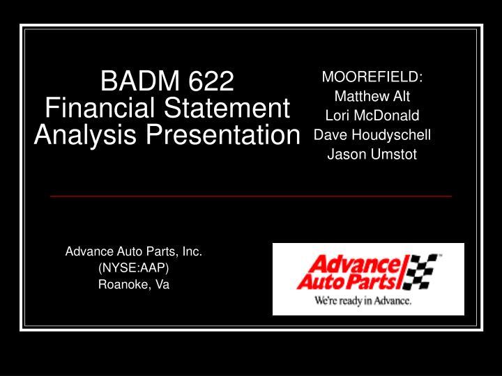 badm 622 financial statement analysis presentation n.