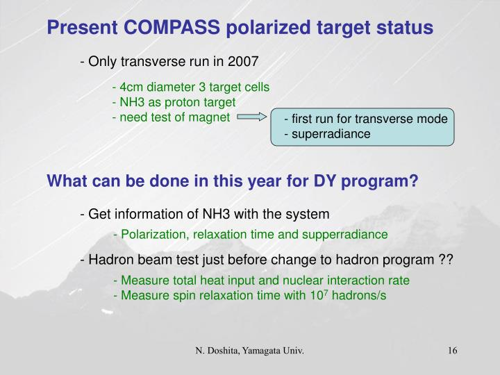 Present COMPASS polarized target status