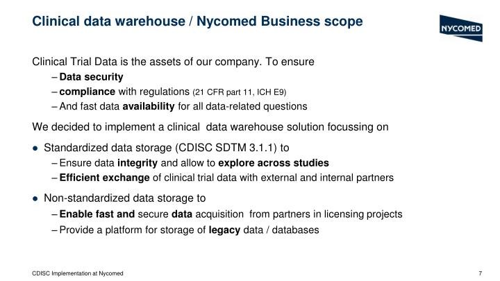 Clinical data warehouse / Nycomed Business scope